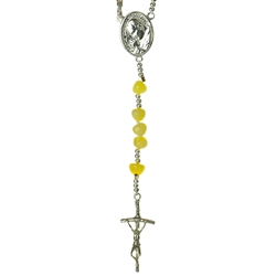Custard amber rosary with a sterling silver cross of St John Paul II and silver medallion (St John Paul II and Our Lady Czestochowa).