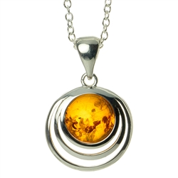 "Elegant sterling silver pendant and adjustable length chain (18"" long max.) framing a beautiful sphere of honey amber."