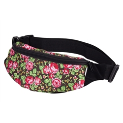Darling fanny pack decorated with a colorful Goral floral design. 100% polyester and plastic lined. Adjustable heavy duty woven belt. Made in Poland.