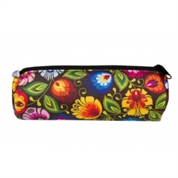 "Attractive zippered, single compartment, pen and pencil case.  Ideal for school, home or office. Size approx  7"" x 3"" x 3"". Imported from Poland. 100% polyester."