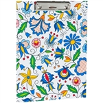 Colorful Kashubian floral design clipboard. Made of cardboard (2mm) and colored laminated veneer. It has a clamping mechanism for holding paper. The sliding opening (pull-up) allows the pad to be hung on the wall. Folk decoration on both sides.