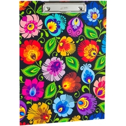 Colorful Wycinanki floral design clipboard. Made of cardboard (2mm) and colored laminated veneer. It has a clamping mechanism for holding paper. The sliding opening (pull-up) allows the pad to be hung on the wall. Folk decoration on both sides.