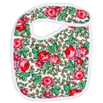 100% cotton baby's bib in a traditional Goral flower design.