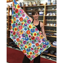 "Polish Beach Towel with paper cut flower pattern from Lowicz. Size 27.5"" x 55""