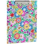 Colorful Opole floral design clipboard. Made of cardboard (2mm) and colored laminated veneer. It has a clamping mechanism for holding paper. The sliding opening (pull-up) allows the pad to be hung on the wall. Folk decoration on both sides.