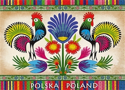 Wycinanki Folklore Print Post Card - Where is the Fox? A beautiful postcard featuring traditional Polish paper cut designs (wycinanki).  Designed By Folk Artist Miroslawa Stefaniak.