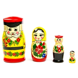 From the traditional crafting village of Semenov, this Russian folk art matryoshka takes good care of his lovely wife and small son and daughter.  The Semenov Good Family Man wears the signature red flowers on yellow background typical of Semenov stacking