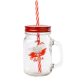 A Mason style glass drinking jar features the Polish Eagle on one side and the word Poland on the other. Comes with a hard plastic straw that is reusable and ecofriendly. Made in Krosno, Poland, the center of Polish fine glassware.