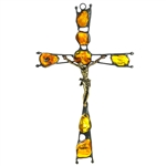 Hand made in Gdansk, the beautiful crucifix is made with natural Baltic amber embedded in an artistic cross. Brass body of Christ. 