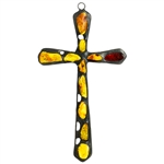 "Hand made in Gdansk, the beautiful cross is made with natural Baltic amber embedded in an artistic cross. Size approx 5.5"" x 3"". Ready to hang."