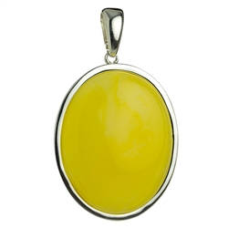 Small Oval Amber Pendant - Honey