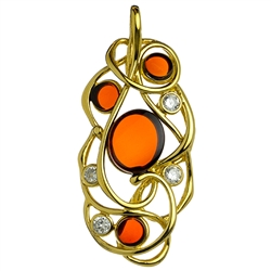 Free form gold vermeil pendant highlighted with cherry amber cabochons and cubic zirconia.