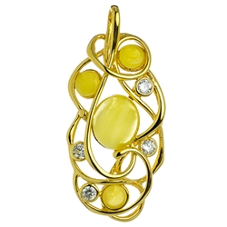 Free form gold vermeil pendant highlighted with custard amber cabochons and cubic zirconia.