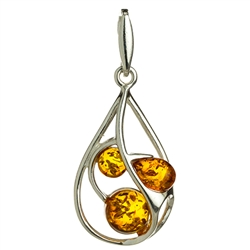 Sterling Silver Pendant With Honey Amber Drops.