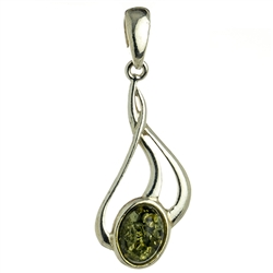 Sterling Silver Pendant With A Green Amber Drop.