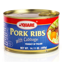Traditional Polish pork ribs with cabbage in pull top can. Just open the can, put on a plate, heat and serve.
