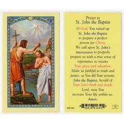St. John the Baptist - Holy Card.  Holy Card Plastic Coated. Picture is on the front, text is on the back of the card.