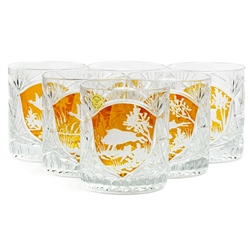 Stunning set of (6) Polish hand-cut and engraved lowball crystal glasses depicting outdoor wild life scenes. The scenes include: deer, hare, duck, pheasant and boar in the wild.