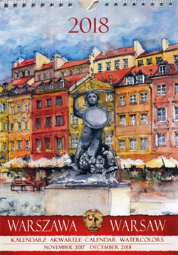 This beautiful small format spiral bound wall calendar features the works of Polish artist Katarzyna Tomala. 15 scenes from the city of Warsaw in watercolours. Includes all Polish holidays and names days in Polish. European layout (Monday is the first day