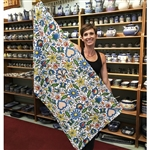 "Polish Bath Towel with Kashub flower pattern. Size 27.5"" x 55""