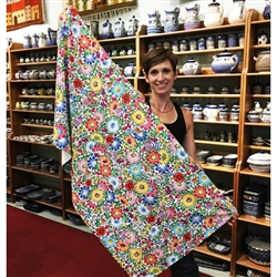 "Polish Beach Towel with and Opolskie flower pattern. Size 27.5"" x 55""