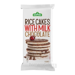 Super delicious rice cake covered on one side with rich milk chocolate (59%). 6 cakes to a package.