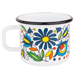 Enameled mugs are a return to your roots. Every grandmother had or even still has enamel pots because they are very durable.  Decorated in a traditional Kashubian floral pattern.
