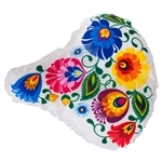 "Attractive stretchy bicycle seat cover decorated with a Polish paper cut pattern. Maximum size approx. 10"" x 10"".  Imported from Poland.