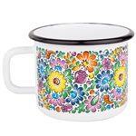 Enameled mugs are a return to your roots. Every grandmother had or even still has enamel pots because they are very durable. Decorated in a traditional Opolski floral pattern.