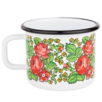 Enameled mugs are a return to your roots. Every grandmother had or even still has enamel pots because they are very durable. Decorated in a traditional Goralski floral pattern.
