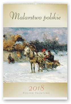 This beautiful wall calendar features 12 Polish historical paintings. Title of each work is in Polish. Days of the week are in Polish and English abbreviations. European layout - Monday is the first day of the week.  Includes all Polish holidays and names