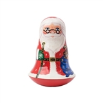 Ring in the Christmas season with Santa! This chiming bell doll is a lovely holiday decoration with a hidden dimension--rock him back and forth you'll hear the tinkle of a bell inside him!  Since he's weighted inside, he is like a Weeble Wobble and will