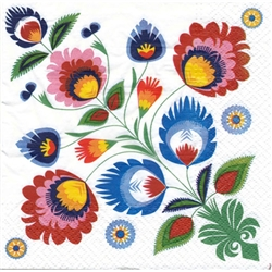 Package of 20 luncheon napkins featuring a beautiful Polish folk pattern. Three ply napkins with water based paints used in the printing process.