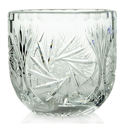 "Genuine Polish Hand Cut 24% Lead Crystal Bowl 4"" Tall.  Starburst pattern."