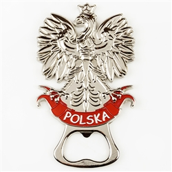 High quality bottle opener with Polish Eagle. The back of the opener has a small magnet so it can be displayed.