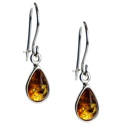 Honey Amber Teardrop Earrings, with a sterling silver French hook with a safety-closure. Amber is soft, only slightly harder than talc, and should be treated with care.Amber is soft, only slightly harder than talc, and should be treated with care.