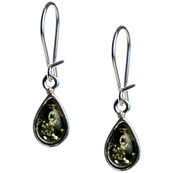 Green Amber Teardrop Earrings, with a sterling silver French hook with a safety-closure clasp. Amber is soft, only slightly harder than talc, and should be treated with care.Amber is soft, only slightly harder than talc and should be treated with care.