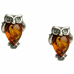 "Charming sterling silver owl earrings with honey amber tummy.  Size approx .3"" x .2"" .....definitely mini size."