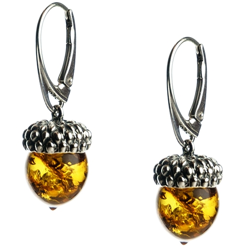 Charming Sterling Silver Acorn Shaped Amber Earrings