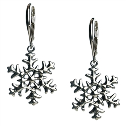 "Delightful sterling silver snowflake earrings. Size approx 1.25"" long x .75"" wide.  Made In Poland."
