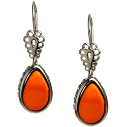 Cherry Amber Teardrop Earrings. Amber is soft, only slightly harder than talc, and should be treated with care.