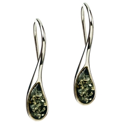 Stylish green colored amber drop earrings in sterling silver with long open french hooks.