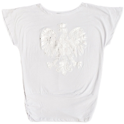 "Blouson style white t-shirt with a large metallic silver Polish eagle applique. Drop sleeves and side ruching at the bottom 7"".  90% cotton 10% polyester."