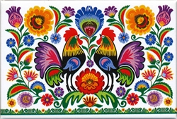 "A Polish paper cut scene of two roosters surrounded by flowers.  This magnet is about the size of a business card, is non-flexible with a strong magnet.  Size is approx 3"" x 2""."