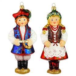 "Exquisitely detailed Krakow boy and girl ornament set. The Krakow costume is considered to be the national folk costume of Poland.  Size approx. 5.5"" x 2.25"" x 1.5"" .
