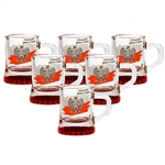 "Set of (6) glass shot glasses, emblazoned on one side with the Polish eagle against a red & white banner, and the famous toast: ""Na Zdrowie"" (To Your Health) on the other side."