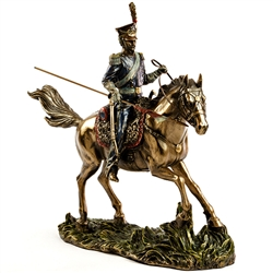 This spectacularly detailed statue of a Polish Uhlan from the Napoleonic period is made using a process known as cold cast bronze with an antique finish. Lance is removable for shipping. Read about the history of these Polish light cavalrymen.