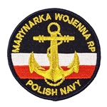 "Embroidered Polish Navy patch with a golden anchor. Sew on patch. Size approx 2.75"" diameter. Made In Poland."