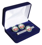 Beautiful Polish Armed Forces Cuff Links and Tie Bar Set.  Shipped in a presentation box as show.