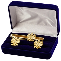 Beautiful gold plate cuff links and tie bar set. Shipped in a presentation box as show.
